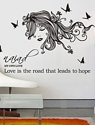 Wall Stickers Wall Decals,  Modern Beauty and the butterfly PVC Wall Stickers