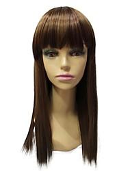 alto grau de comprimento do ombro sintética peruca marrom reta sintética sem tampa com estrondo completo