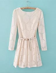 женская мода круглым воротом подсолнечное длинным рукавом кружевном платье