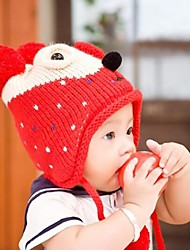 Kid's Fashion Joker Lovely Warm Plush Dot Bear Earmuffs Hat