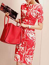vestido de estampado floral bodycon cuello redondo de las mujeres Fengzhe