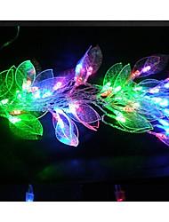 LED String Light 48 Lights Modern Leaf Shape Chromatic Plastic 5m 220V