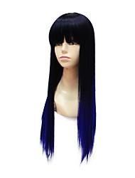 lungo nero blu colore gradiente parrucca piena sintetica diritta grado superiore senza cappuccio