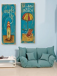 Stretched Canvas Art Happy Beach Set of 2