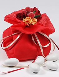 10 PCS Double Layer Red Chiffon Wedding Favor Bags Drawstring Pouch with Handmade Flower for Luxury Party