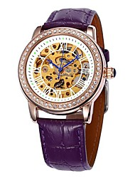 cadran diamant creux bande boîtier en or en cuir auto-mécanique de la montre-bracelet des femmes (couleurs assorties)