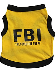 Cat / Dog Shirt / T-Shirt / Jersey Yellow Dog Clothes Spring/Fall Letter & Number / Police/Military