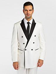(Premium) noir&polyeter blanc coupe près du corps en deux parties smoking