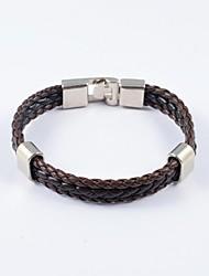 pulseiras de couro dos homens clássicos de tecer pu