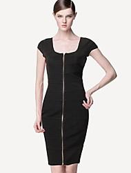 Women's Solid Black/Red/White Dress , Sexy/Bodycon/Casual/Work/Plus Sizes U Neck Sleeveless