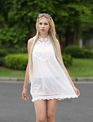 Women's Crew Neck Mini Dress , Chiffon/Lace White Vintage/Sexy/Lace