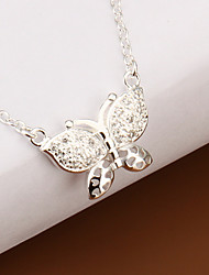 Fashion Butterfly Shape Silver Plated Silver Simple Role Foreign Trade Pendant Necklace(White)(1Pc)