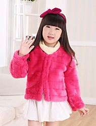 Thick Long Sleeve Collarless Faux Fur Kids Jacket(More Colors)