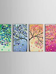Hand-Painted Floral/Botanical Horizontal Panoramic,Classic Traditional Four Panels Oil Painting For Home Decoration