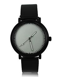 Women's Blank Face Style PU Band Quartz Wrist Watch
