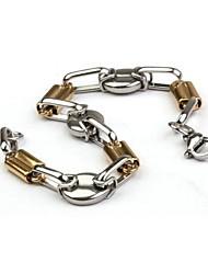 herenmode persoonlijkheid titanium staal gouden bonen indirecte armbanden