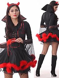 Costume d'Halloween séduisante fille de diable noir cuir femmes