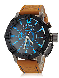Men's Watch Military Steel Case Leather Band