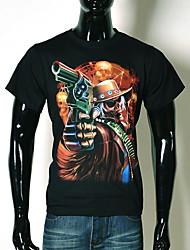 AFEC Herren Kurzarm 3d Skull T-Shirt gedruckt