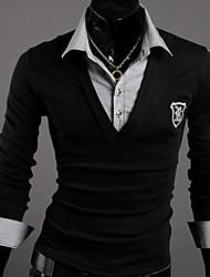 WANT Men's Long Sleeve Slim V-Neck T-Shirts