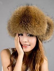 Women's Real Genuine Raccoon Fur Winter Hat Beret Beanie Shapka
