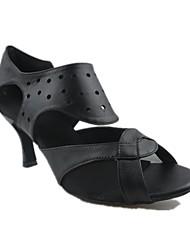 Customizable Women's Dance Shoes Latin Leather Customized Heel Black