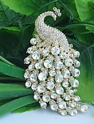 Women's Vintage Alloy Clear Rhinestone Crystal Peacock Bridal Brooch Wedding Jewelry
