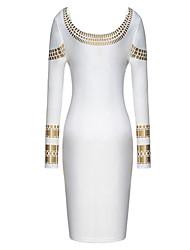 Melos vestido estampado de oro bodycon cuello redondo de las mujeres