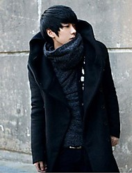 Men's Ln More Korean Style Slim  Hooded Long Coat