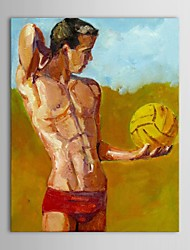 IARTS®Hand Painted Oil Painting People Semi-Naked Young Football Player with Stretched Frame
