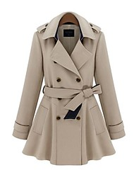colar de lapela fina dupla trench coat breasted mulheres