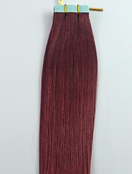 20Inch 20pcs Dark Copper Red Brazilian Hair Tape Human Hair Extensions Straight
