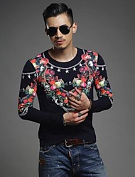 Men's New Winter Roses Printed Chain Men Long Sleeve T-shirt  Top