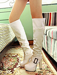 Women's Shoes Round Toe Chunky Heel Knee High Boots With Buckle More Colors Available