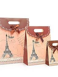 coway 3pcs cor de fundo da torre Eiffel colagem saco moda festa fresco saco de presente de papel conjunto
