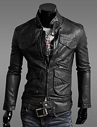 huizi мужские случайные тонкий факс кожаное пальто