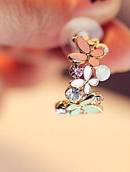 Women's Colorful Fashion Sweet Style Butterfly Crystal Shiny Glitter Bling Open Earrings