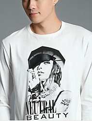 Men'sPrint in Black And White ash Long Sleeve T-shirt Male P30 Top