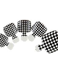 24pcs bonito preto&brancos unhas verificador igual com unhas cola&lixa de unha