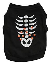Chat Chien Tee-shirt Noir Vêtements pour Chien Printemps/Automne Crânes Cosplay