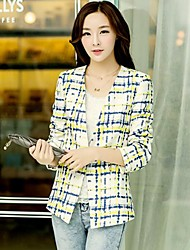 Jushang Women's Fashion Check Long Sleeve Blazer