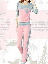 mode casual costume de coton col rond des femmes (coton ouaté&pantalon)