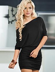 easyace Frauen der Schulter Normallackkleid