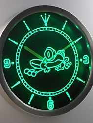 nc0336 Kid Room Frog Decor Neon LED Wall Clock