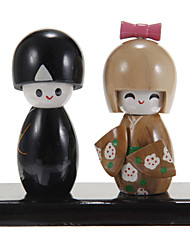 Cake Toppers Japanese Traditional Kimono Wooden  Cake Topper Set