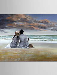 Oil Painting People Lovers on Beachs with Stretched Frame Hand-Painted Canvas