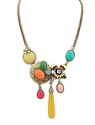 Women's Exquisite Flower Drops Cluster Cute Statement Necklace