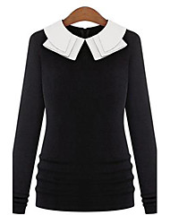 Women's  Fashion Doll Collar Long Sleeve Solid Color T Shirt