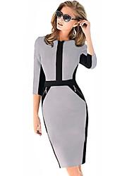 media manga de cuello en V vestidos delgados Monta mujeres
