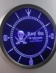 nc0390 Piraten halten sich kein Hausfriedensbruch Schädelkopf Bar Leuchtreklame LED-Wand Uhr
